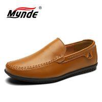 Mynde плюс размер 38-47 на удобные кожаные ручной работы Для мужчин обувь Лоферы Для мужчин Повседневное Мокасины Мужская дышащая обувь для вожд...