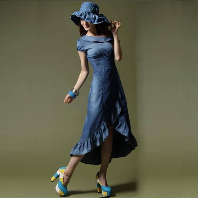 00355a502a Summer Dress Women 2017 Casual Ruffles Fashion Dresses For Ladies Denim  Blue Robe Femme Long Jean Dresses A3154