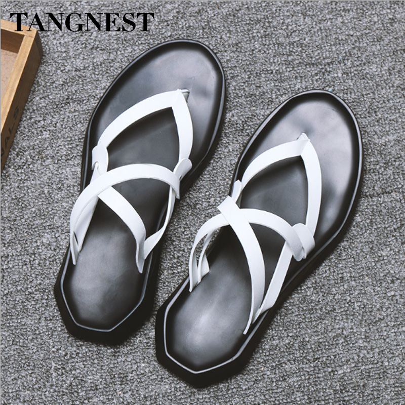Tangnest 2018 Summer Man Sandals New Gladiator Sandals Slip-on Solid Leisure High Quality Cross-tied Fashion Male Flats XML236