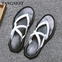 Tangnest 2018 Summer Man Sandals New Gladiator Sandals Slip on Solid Leisure High Quality Cross tied Fashion Male Flats XML236