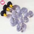 PRIDA HAIR 7A Grey Silver Ombre Human Hair Extensions 3 Bundles Indian Virgin Hair two tone Ombre Grey Body Wave Hair Weave
