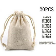 20pcs Cotton Muslin Wedding Party Favor Christmas Bags Pouch Storage bag  unbleached drawstring closure Jewelry Rings 43f7a6a58e04