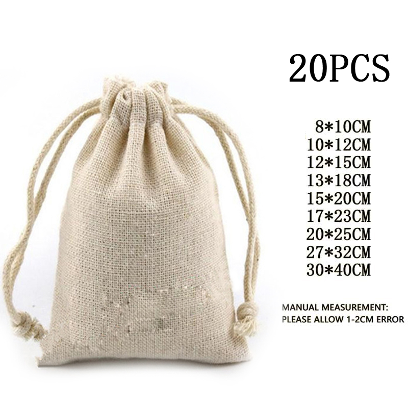 20pcs Cotton Muslin Wedding Party Favor Christmas Bags Pouch Storage bag unbleached drawstring closure Jewelry Rings Gift pack