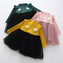 New Brand Baby Dresses Long Sleeve Rabbit embroidery Party Prom Lace Bebes Girls Clothes Fashion Toddler Clothing