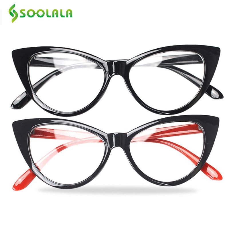 SOOLALA 2 PCS Brand Women Cateye Syzet për Lexim Spektakël Syri për sytë nga macja Lexuesi i kompjuterit Oculos Syzet e miopisë me porosi