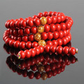 Ubeauty natural red cinnabar 8mm 108 Tibetan Buddhist mala prayer beads bracelet necklace for meditation  free shipping