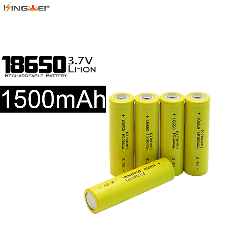 HOT SALE New KingWei 18650 Battery Yellow <font><b>1500mah</b></font> <font><b>3.7</b></font> <font><b>v</b></font> Li ion Rechargeable 18650 Lithium-ion Battery image