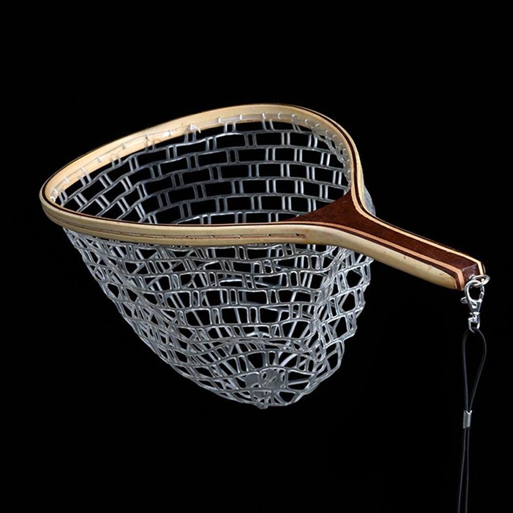 Image 3 - Горячее предложение, деревянная ручка, резина/нейлоновая сетка для ловли нахлыстом, сачок для ловли-in Рыболовная сеть from Спорт и развлечения
