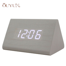 OUYUN Electronic Led Desk Clock Acoustic Control Sensing Triangles Snooze Table Watch Thermometer Luminous Table Clock