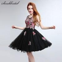 В наличии вышивка цветок Короткие вечерние платья цветочные черный Платья для вечеринок Couture Vestido De Baile Курто платье LSX201