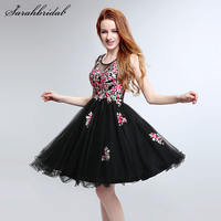 In Stock Embroidery Flower Short Homecoming Dresses 2017 Floral Black Party Dresses Couture Vestido De Baile Curto Gown LSX201