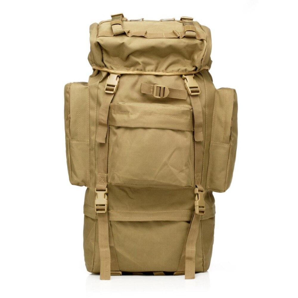 Grande capacité 65L assaut tactique en plein air militaire sacs à dos sac à dos alpiniste couverture de pluie en métal cadre escalade sac