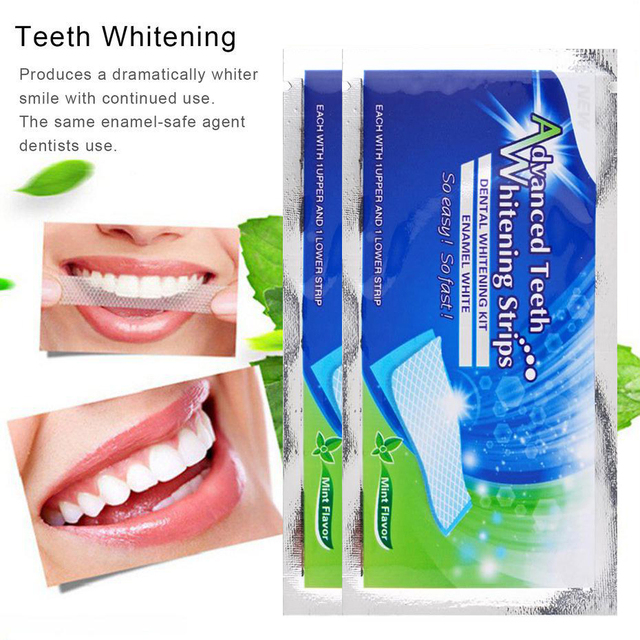 New 2pcs/bag Dental Teeth Whitening Strips Tooth Whitening Strip Tooth Bleaching Whiter Teeth Whitening Strips Daily Life TSLM2