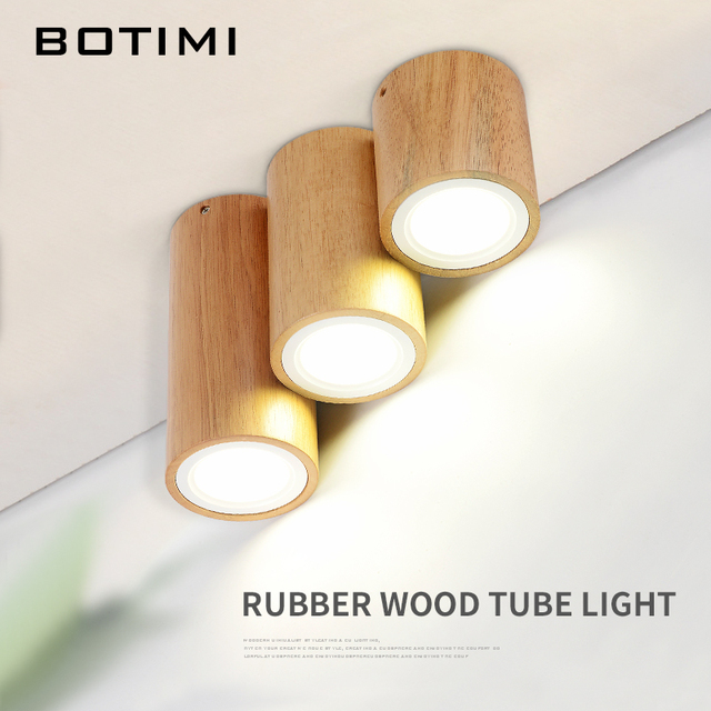 BOTIMI Modern LED Ceiling Lights For Corridor Small Round Wooden Ceiling Lamp Modern Square Luminaire Cuboid Wood Lightings