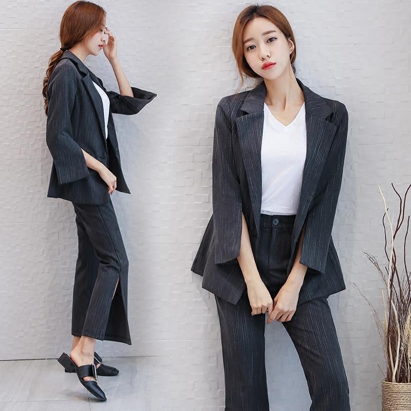 New Arrival 2017 New Arrival Fashion Fashion Womens Business Pants Suits Striped Slim Blazer Coat Suits For Women 2 Pieces Set