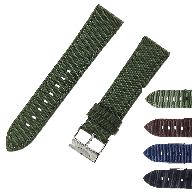 22mm Canvas & Cow Leather Watchbands Genuine Leather Watch <font><b>Strap</b></font> Stainless Steel Clasp Watch Accessories For <font><b>Breitling</b></font> Navitimer image