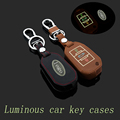 ForPeugeot 3008/2008 408 308S 508 Genuine Leather Car Keychain Key Fob Case Cover 3 Button Remote Car Key Chain Rings Holder bag
