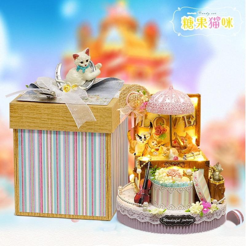 DIY Miniature Dollhouse CANDY CAT CADEAU BOÎTE avec Mouvement - Poupées et accessoires - Photo 2