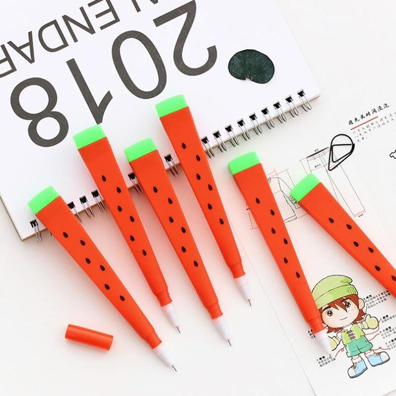 X46 3X Kawaii Cute Watermelon Design Gel Pen Writing Signing Tool Soft Hand Black Ink Kids Gift School Supply Student Stationery