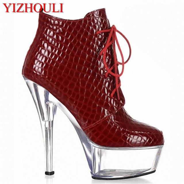 6 inch high heels platforms dinner party Banquet black gladiator ankle boots  15cm spool heel shoes for women Exotic shoes 6e5a99a720df
