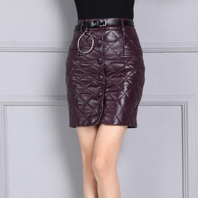 Mouton Bureau Haute Longueur 2 Genou Lady Casual Jupes Cuir Streetwear 3 Qualité Véritable Faldas Femme Wrap Mode Peau Féminine Confort En 1 De TqPTaY