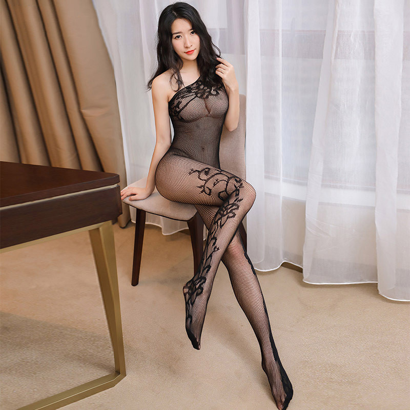 Hot Sexy Hollow Out Mesh Pantyhose Oblique Shoulder Open Crotch Body Stockings Women Black Jacquard Fishnet Tights Sexy Lingerie