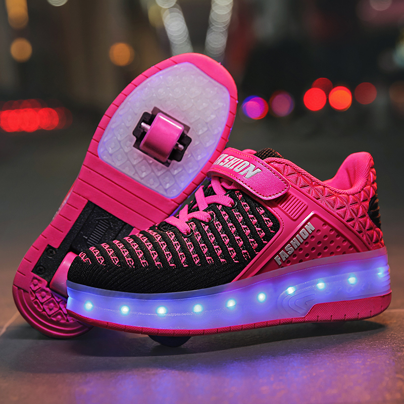 USB Charge Two Wheels BLUE New Boy Girl Sneakers Shoes Lace Up Platform Casual Flats Shoes Roller Skate Shoes Heelies