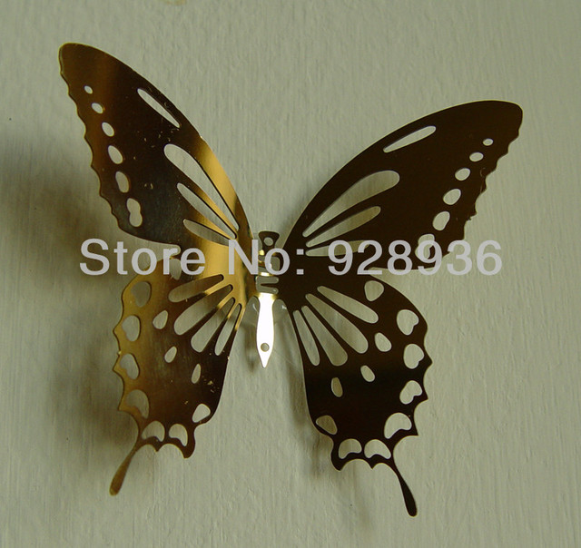 Gold Color 8.0*6.0cm 3D Butterfly Mirror Wall Sticker Home Decor Metal  Butterfly Wall