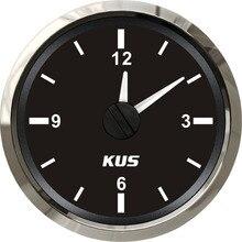 """KUS Guaranteed Clock Meter Gauge 12 hour Format with Red Backlight 52mm(2"""") 12V/24V"""