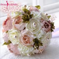 2017 Bride Bouquet Vintage Artificial Flower Wedding Bouquet Peony Wedding Flowers Romantic Fashion Bouquet De Noiva