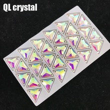 QL Crystal Clear AB Glass Tri-angle  Sew On Rhinestones with 3 holes for DIY Garment bags shoes material