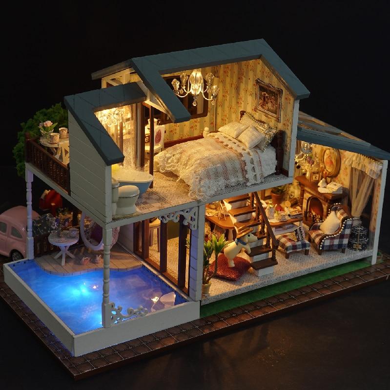 DIY Bebek Evi Ahşap Bebek Evleri Minyatür dollhouse Mobilya Kiti - Bebekler ve Aksesuarlar - Fotoğraf 6