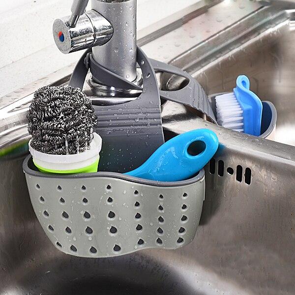 3 colores útil de la ventosa del fregadero del estante de la esponja del drenaje de la cocina herramienta de almacenamiento del ventosa Colgable de la puerta del hogar de la cocina gabinete trasero de la basura soporte de la bolsa de basura estante de almacenamiento colgante