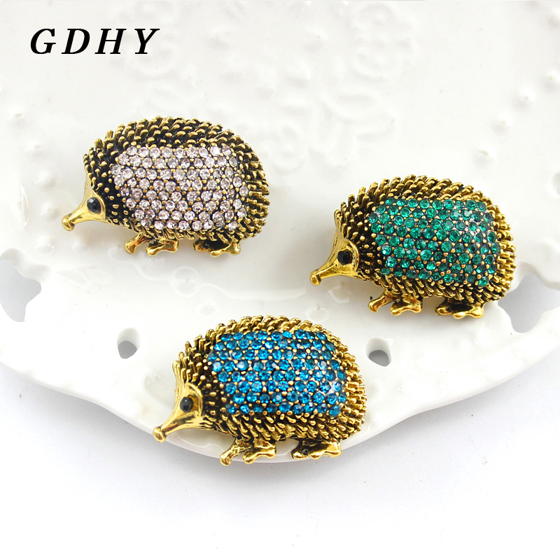 GDHY Hedgehog Brooch Exquisite Animal Hedgehog Coloured Water Drill Blink Enamel Pins Button Badge Shirt Backpack Women Jewelry