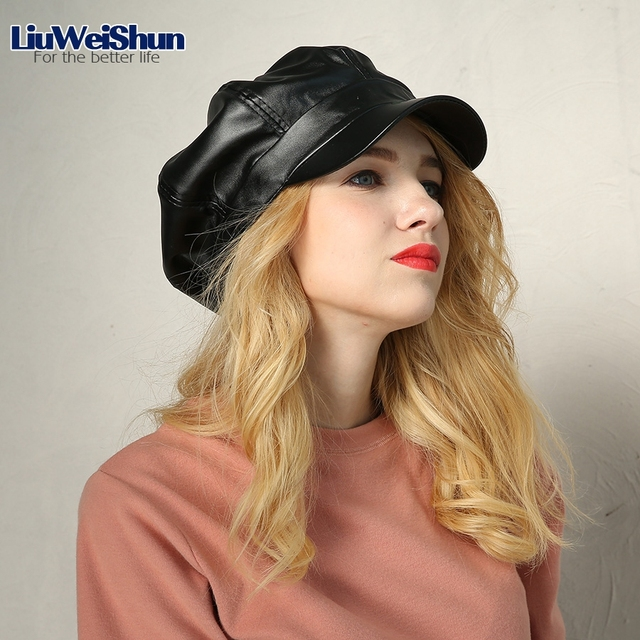 9d0bed4de766c Fashion Girls PU Leather Octagonal Cap Hats Women Retro Vintage Beret Hats  Newsboy Cabbie cap Female Chapeau Black Bone Bonnet