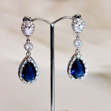 Classic Blue Stone Water Drop Earrings For Women Wedding Jewelry Silver Color Cubic Zirconia Trend Dangle Earring Brincos Y4Q456(China)