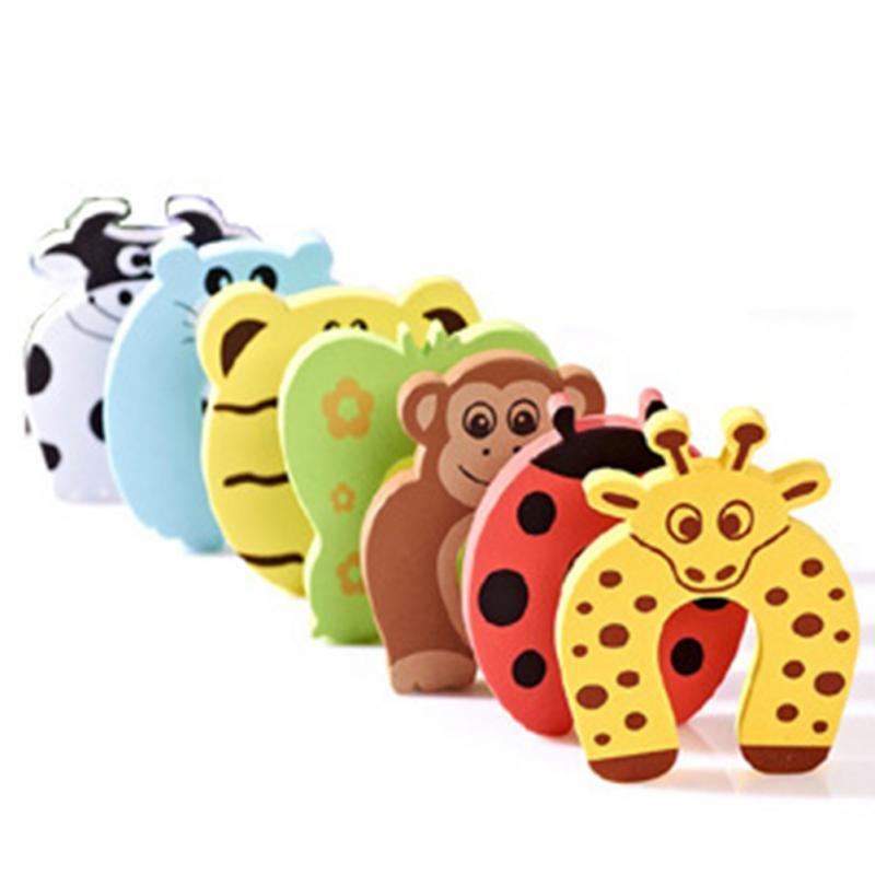 5PCS/Set New Baby Kids Animal Cartoon Jammers Stop Door Stopper Holder Lock Safety Guard Finger Protect For Children Random