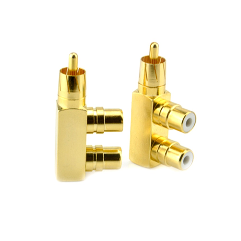 1PC Gold Plated Copper 1 RCA Male To 2 RCA Female AV Audio Video Adapter Plug Splitter Converter Connector