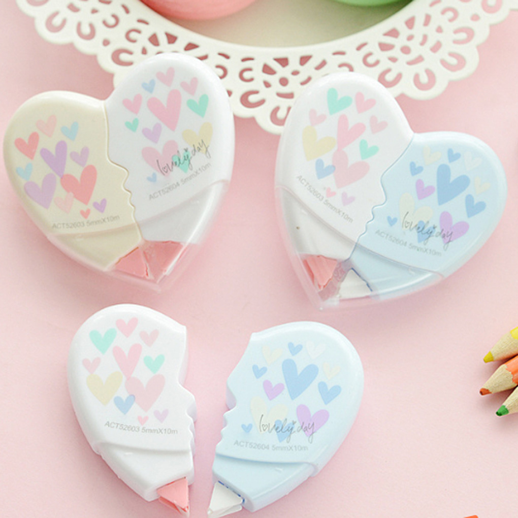 2 Pcs/pair 10m Love Heart Correction Tape Plastic Stationery Corrector Students Gifts Office School Supplies