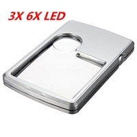 1Pcs Portable 3X 6X LED Square Credit Card Magnifying Glass Loupe Reading Magnifier Case Magnifying Glass Ultra-Thin