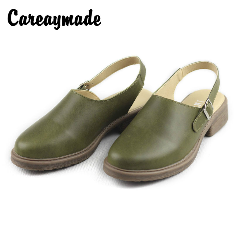 Careaymade Retro female sandals 2019 summer new leisure shoes handmade genuine leather English style Baotou cool
