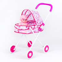 Foldable Baby Carriage Big Wheel Stroller Toy Set Pretend Play Smulation Baby Iron Trolley Girls Play House Toys Cart For Dolls