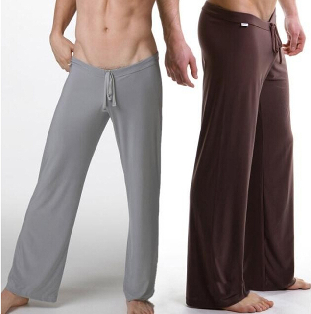 200cc56093904 New America soft silk sleep pajama bottoms men sexy pants soft silk  comfortable sheer nightgown mens
