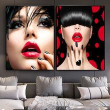 Сексуальная картина маслом с красными губами для женщин на холсте