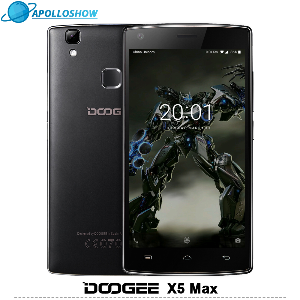 DOOGEE X5 Max mobile phones fingerprint 4000mAH 5 0InchHD 1GB 8GB smart phone MT6580 Quad Core