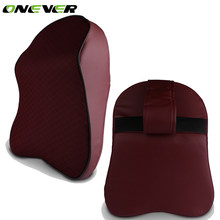 Onever Car Neck Pillow Head Headrest Pad Breathable Memory Foam Chair Nap Pillow PU Leather For Seat Car Interior Accessories(China)