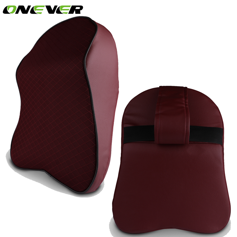 Onever car neck pillow head headrest pad breathable memory foam chair nap pillow pu leather for