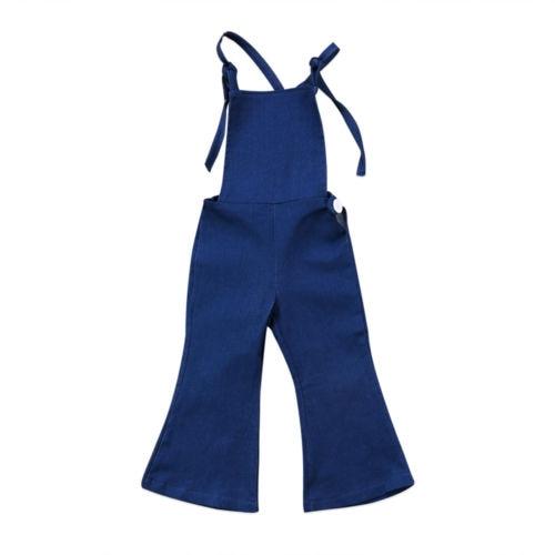 1-6y Kleinkind Kinder Baby Mädchen Overalls Strap Sleeveless Backless Denim Bib Bell-bottom Hosen Romper Overall Outfits Baby Kleidung Durchsichtig In Sicht