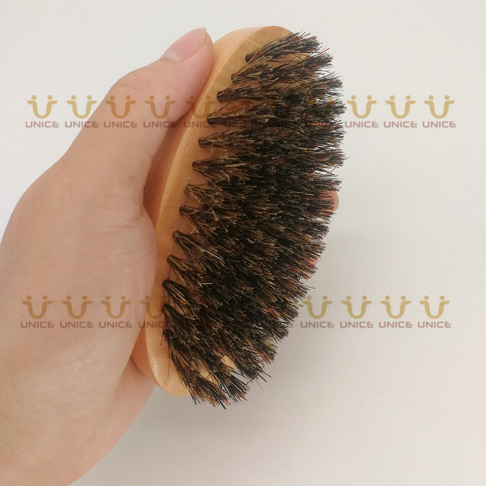 Купить с кэшбэком 100pcs/lot Boar Bristle Beard Brush Wood Brush Customized LOGO Wooden Facial Cleaning Brush for Men Grooming Promotion Gift
