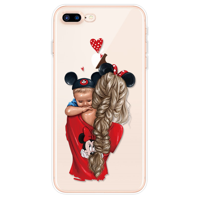 Fashion Black Brown Hair Baby Mom Girl Case For iPhone XR X XS Max Case for iphone 7 8 6s 6 Plus Cover for iphone 8Plus 10 Funda